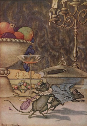 Vintage illustration of mice fleeing banquet for Aesop's The Town Mouse and the Country Mouse