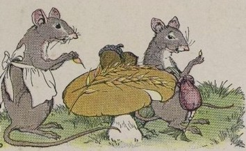 Vintage illustration of mice and mushroom for Aesop's The Town Mouse and the Country Mouse