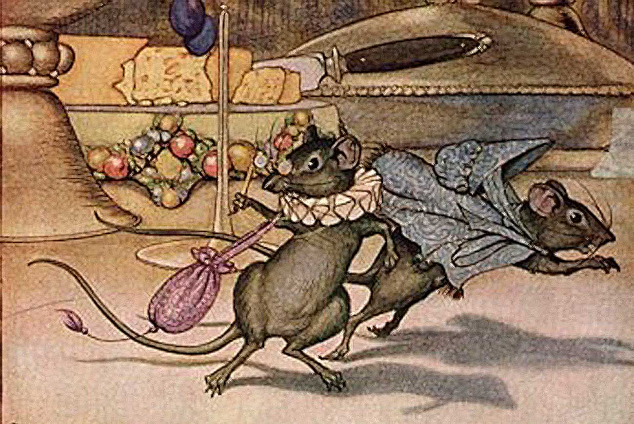 Aesop illustration for the Town Mouse and the Country Mouse