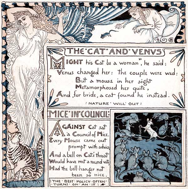 Babys Own Aesop Childrens Fables Cat Venus Mice in Council