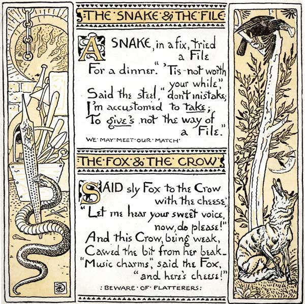 Babys Own Aesop Childrens Fables Snake File Fox Crow