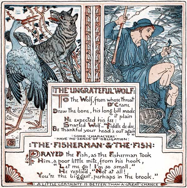 Babys Own Aesop Childrens Fables Ungrateful Wolf Fisherman