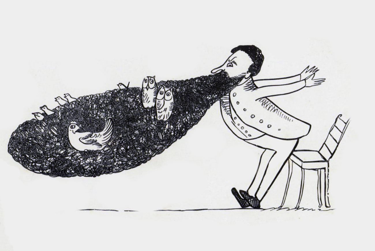 Edward-Lear-vintage-illustration-birds-in-beard