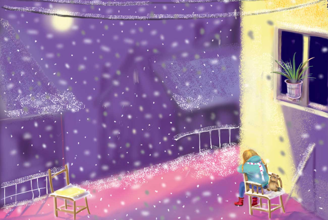 Illustration of girl and stars for christmas stories Gretchen and the Wooden Shoe