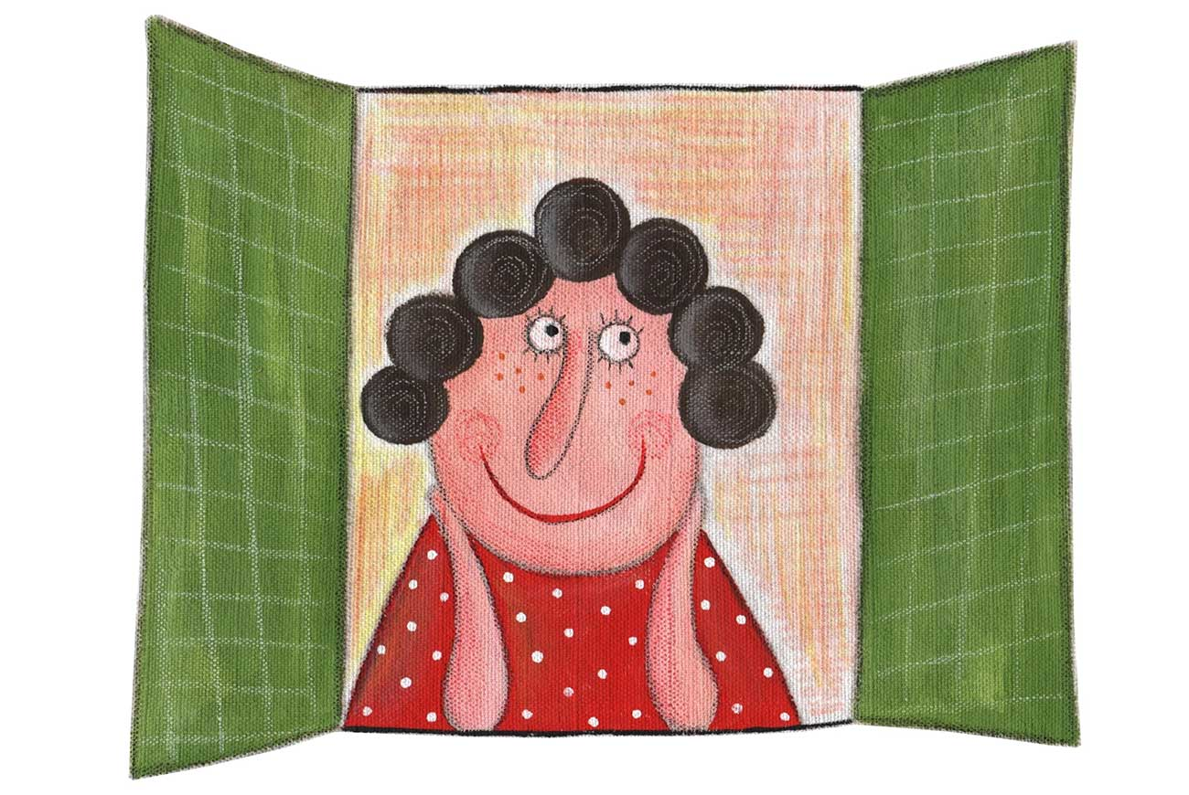 Illustration of old woman in window for christmas story The Tell Tale Tile