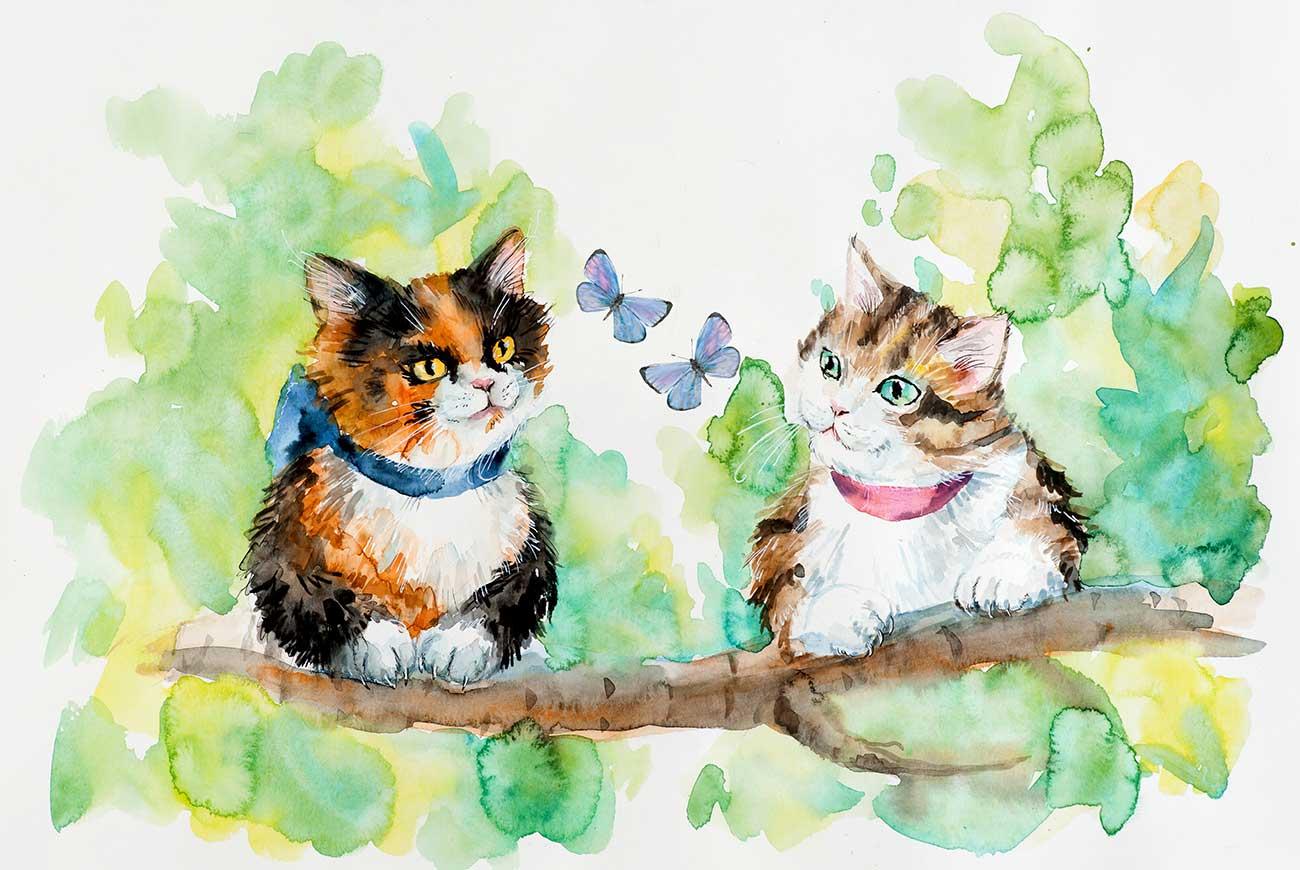 Illustration of Two Kittens poem for kids