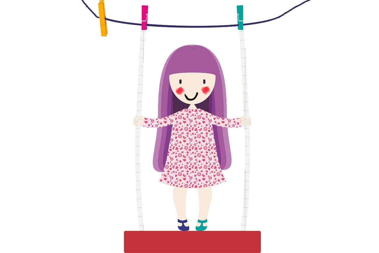 Illustration of girl on swing - poems for kids