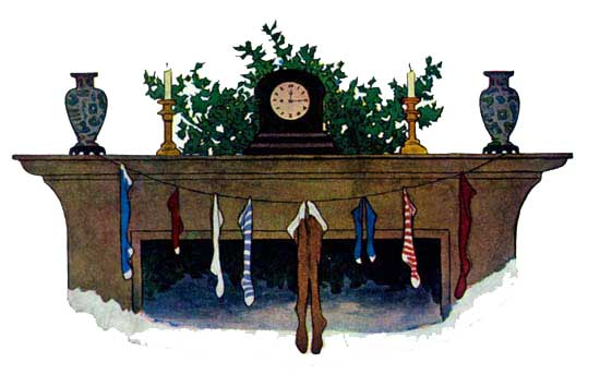 Vintage illustration of stockings and hearth for The Night Before Christmas children's christmas stories