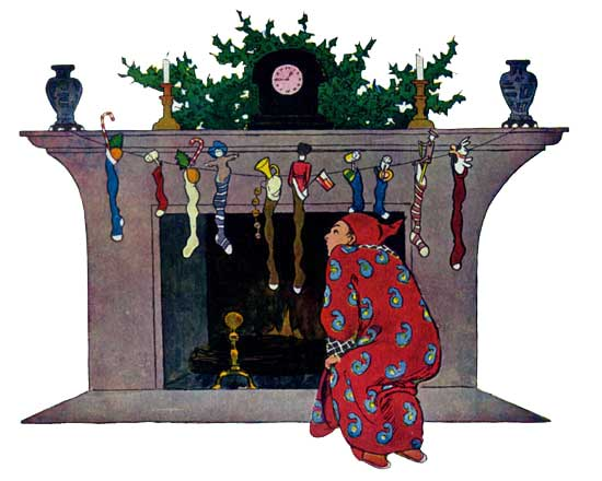 Vintage illustration of boy looking up chimney for The Night Before Christmas children's christmas stories