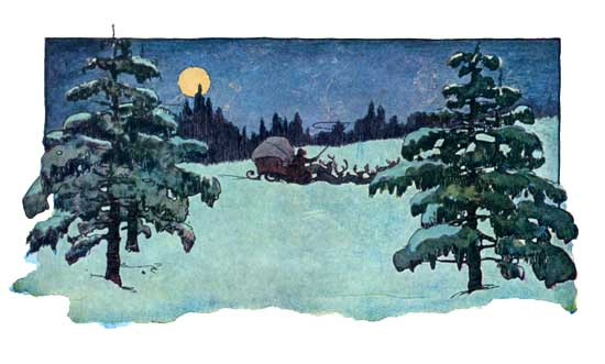 Vintage illustration of Santa Claus riding off on sleigh for The Night Before Christmas children's christmas stories