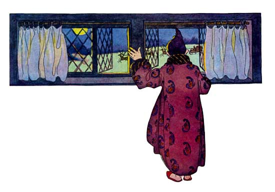 Vintage illustration of person in pyjamas watching out window, for The Night Before Christmas children's christmas stories