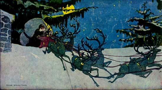 Vintage illustration of Santa Claus's sleigh and reindeer, for The Night Before Christmas children's christmas stories