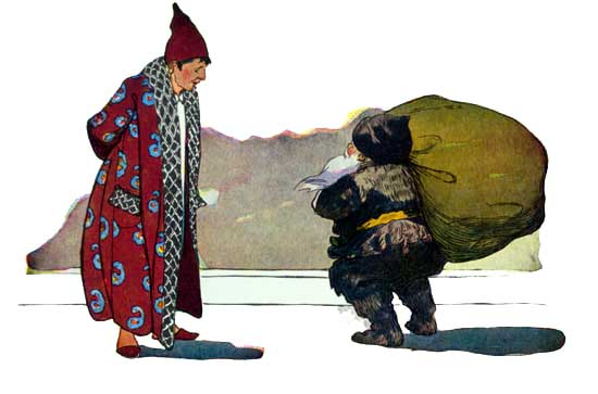 Vintage illustration of man in pyjamas and Santa with sack, for The Night Before Christmas children's christmas stories