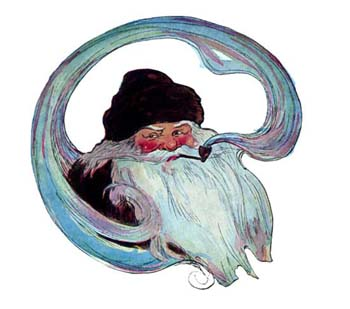 Vintage illustration of Santa Claus smoking pipe, for The Night Before Christmas children's christmas stories