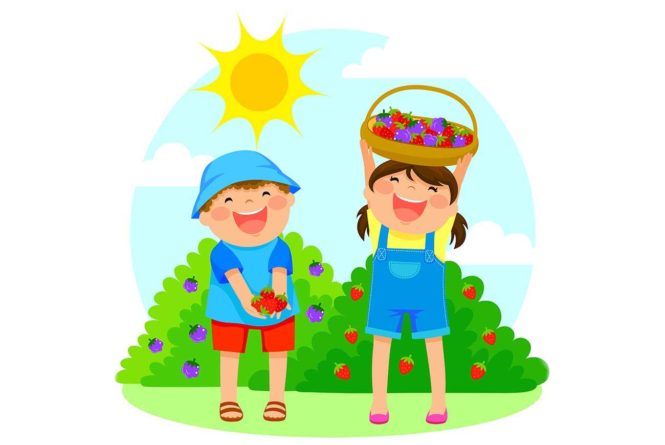 Summer strawberry picking girl illustration - poems for kids