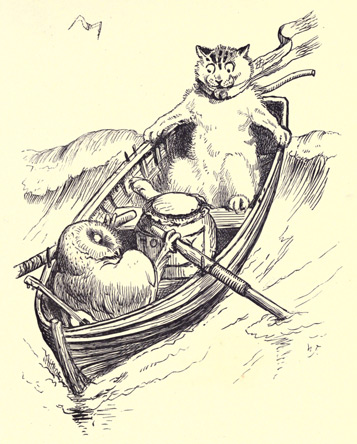 The Owl and The Pussycat vintage illustration - in a boat on the sea - poems for kids