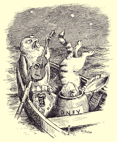 The Owl and The Pussycat vintage illustration - owl playing guitar - poems for kids