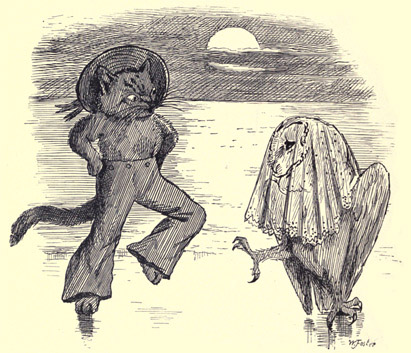 The Owl and The Pussycat vintage illustration - dancing by the light of the moon - poems for kids