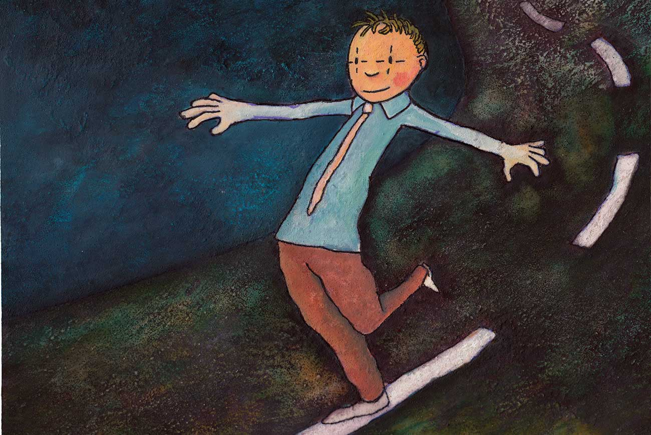 Illustration of boy on a tightrope for Chinese children's story The Two Jugglers