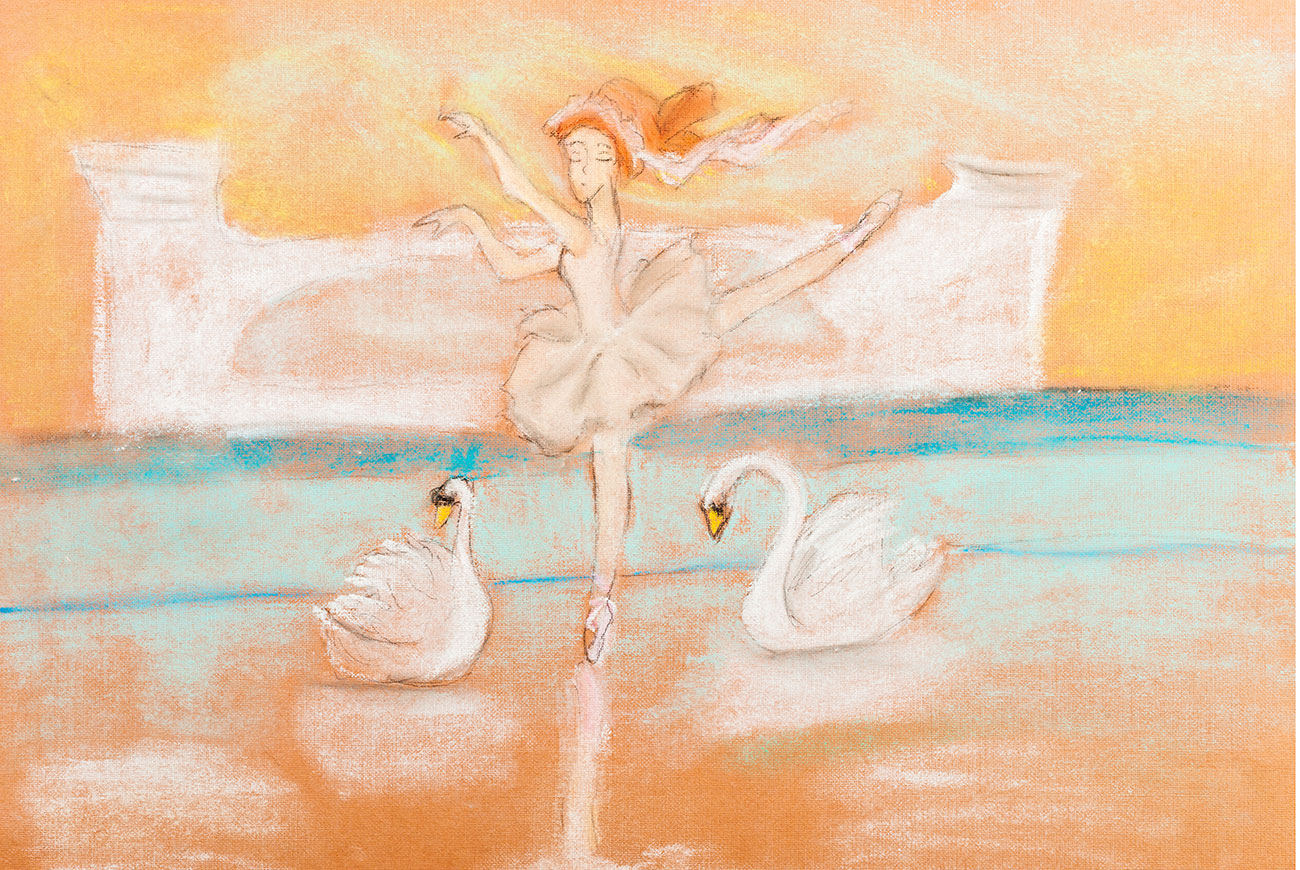 Illustration of girl dancing for Grimm Bros story The Six Swans