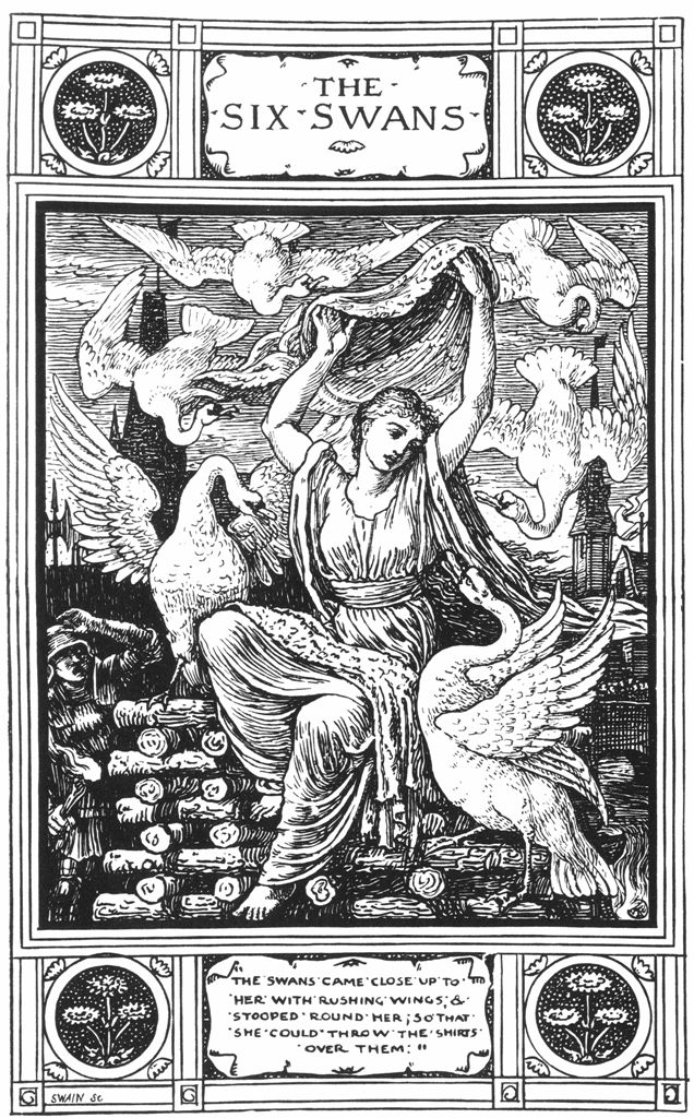 Vintage illustration for Grimm Brothers fairy tale The Six Swans