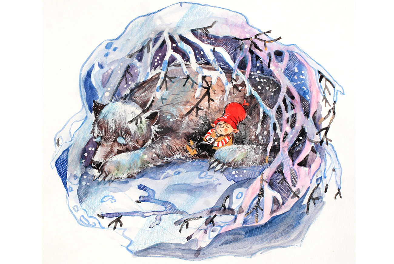 Bedtime stories illustration - The White Bear and the Trolls - norse fairytales