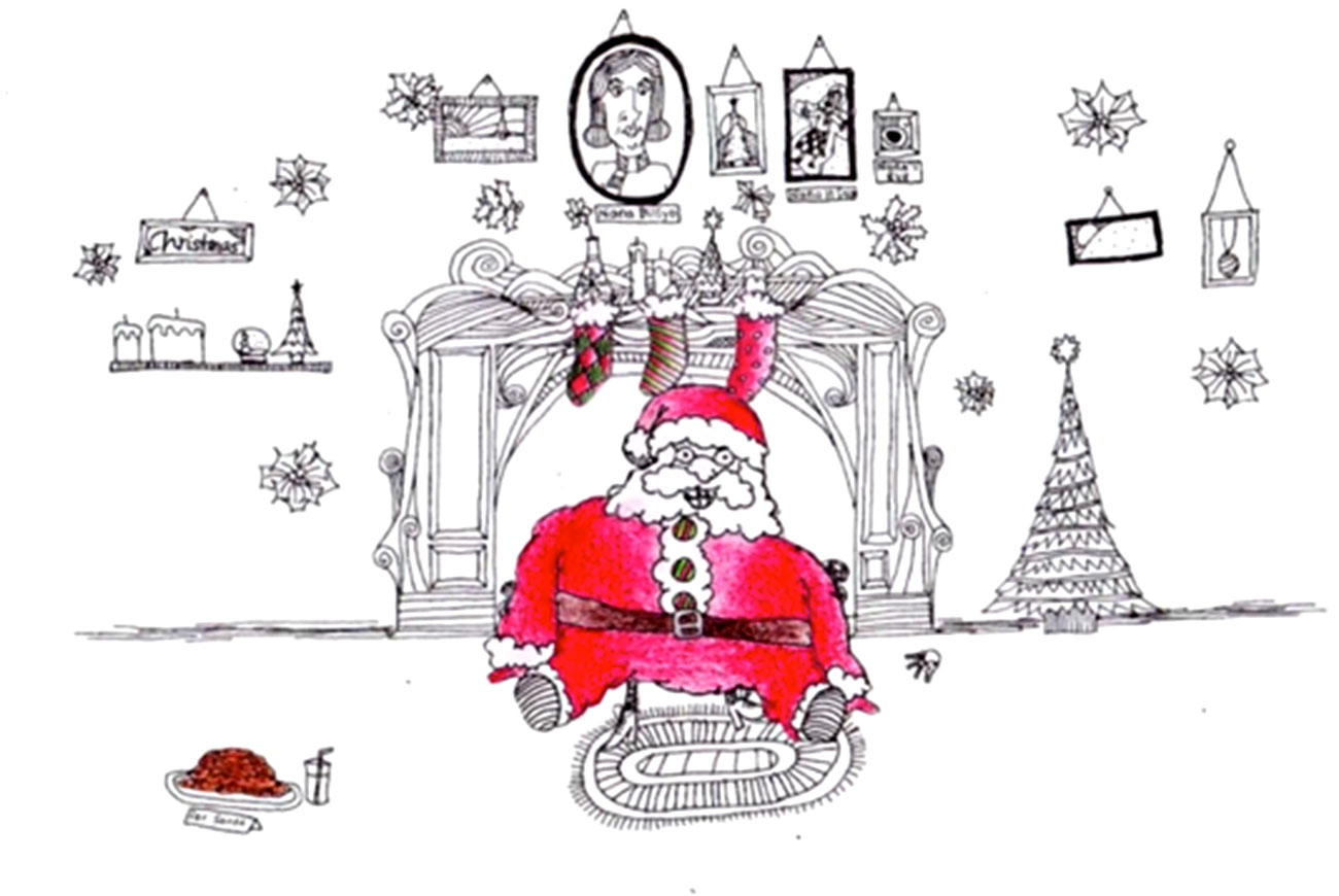 "Illustration of fat Santa for Christmas motion poem ""The Christmas Incident"""