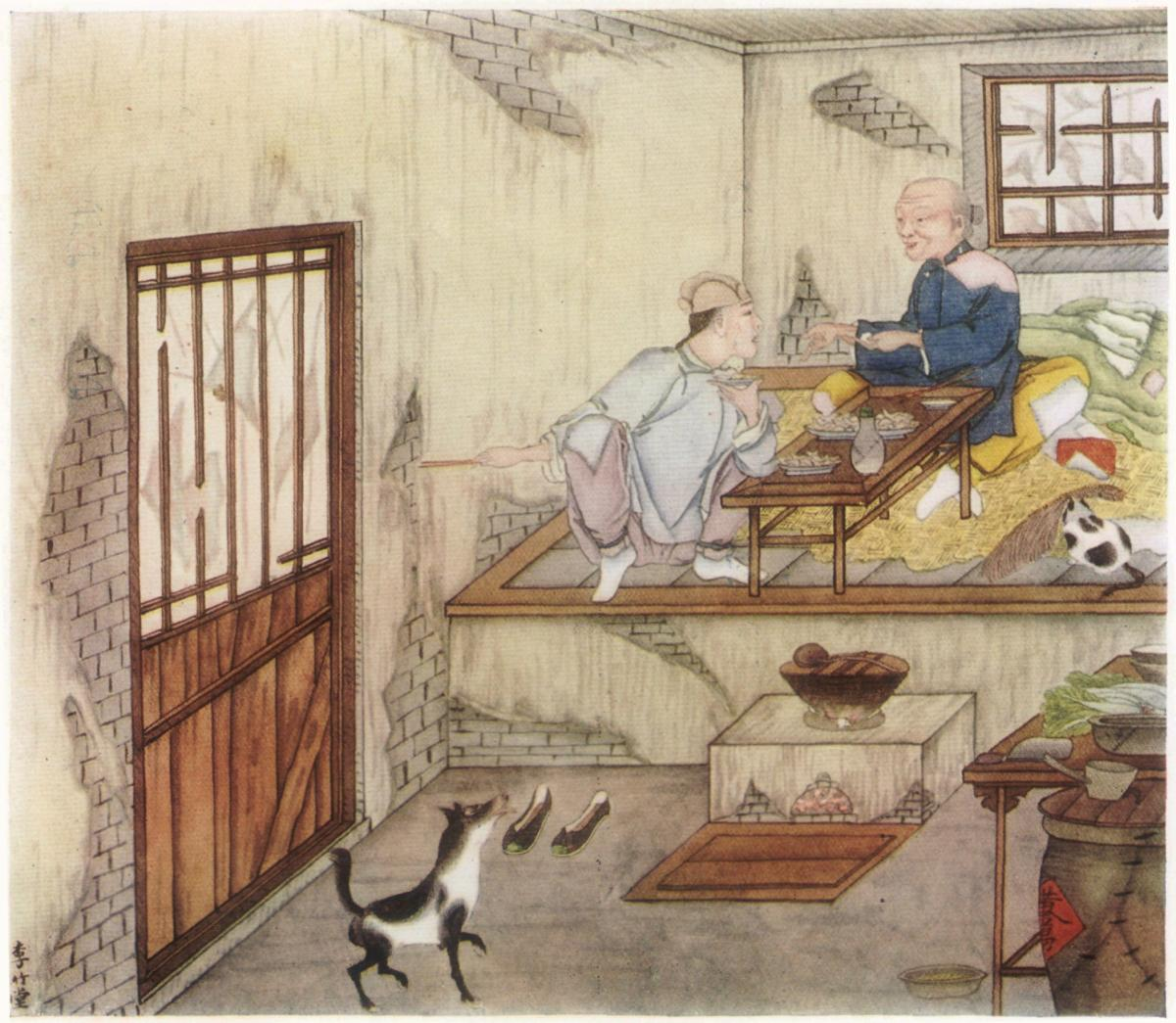Vintage illustration of Chinese bedtime story The Golden Beetle