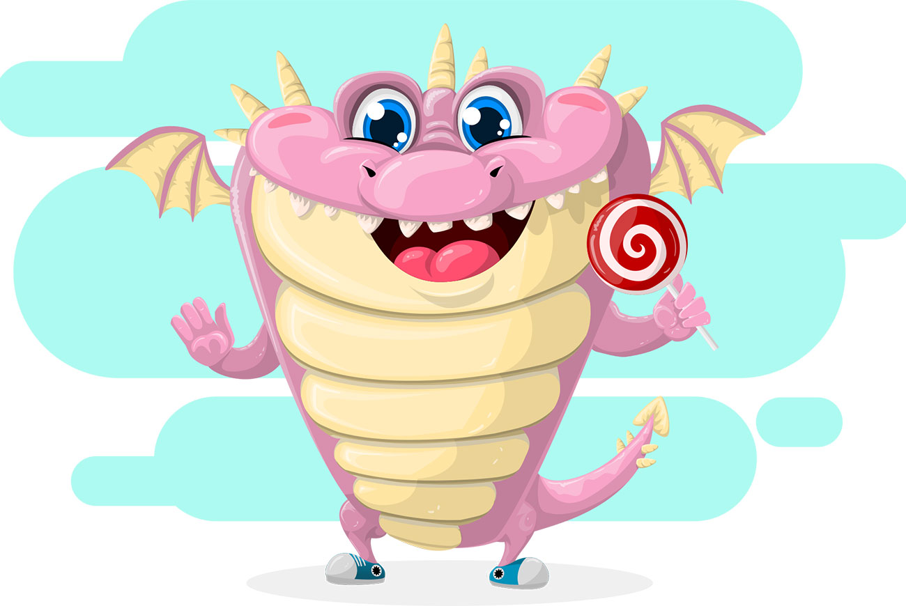 Header illustration of dragon and lollipop for kids short story The Dragon Tamers