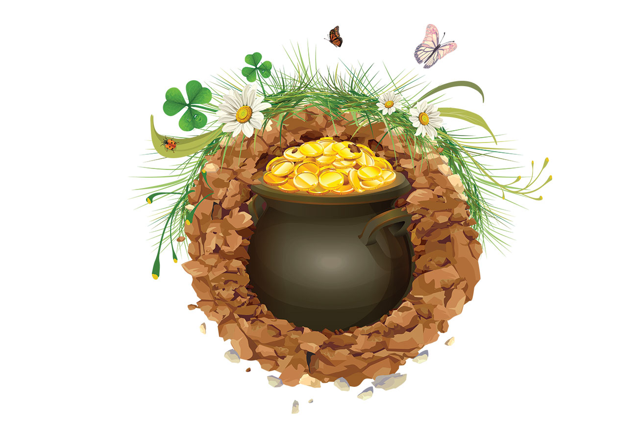 Illustration of pot of gold for children's story The Stones of Plouvinec