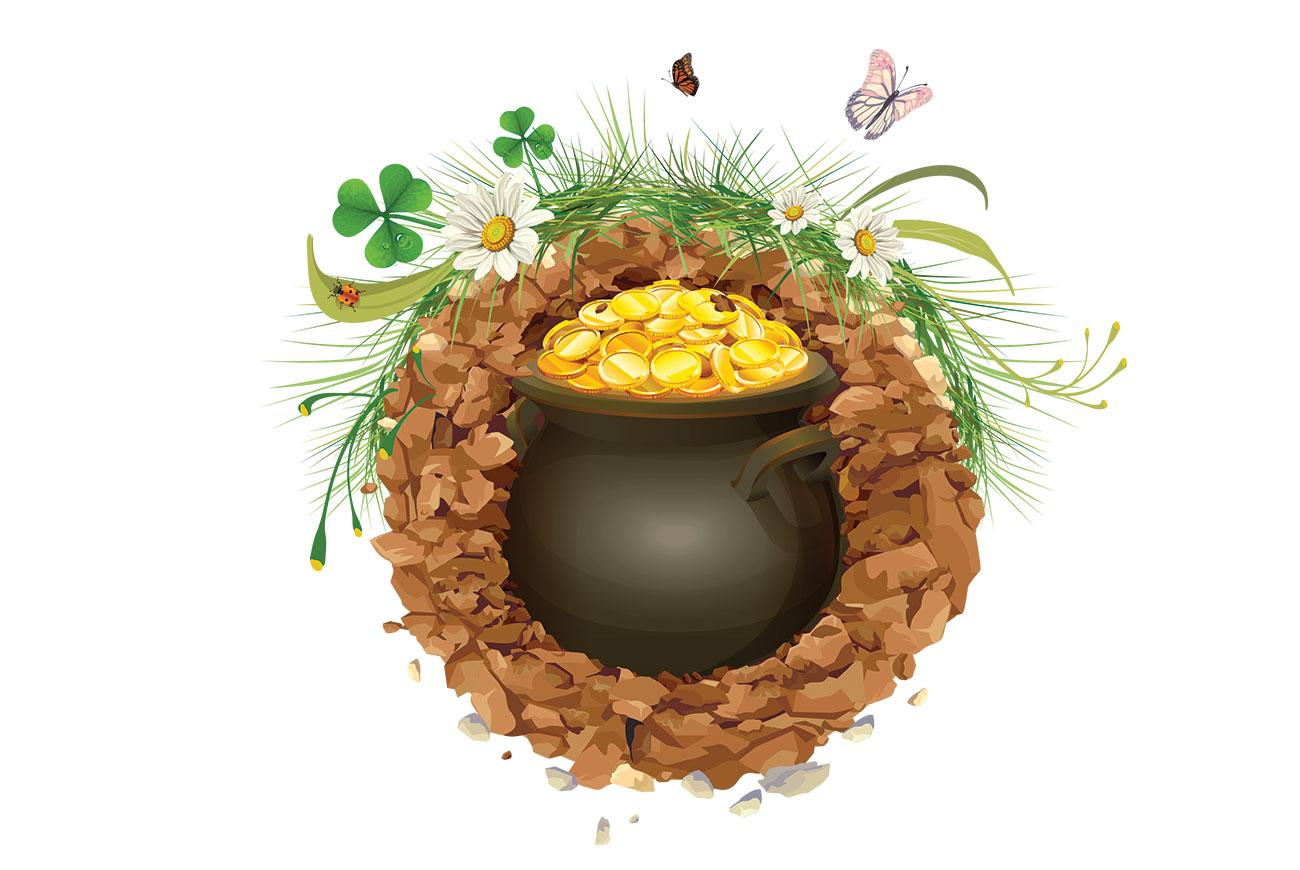 Illustration of pot of gold for children's story The Stones of Plouvinec