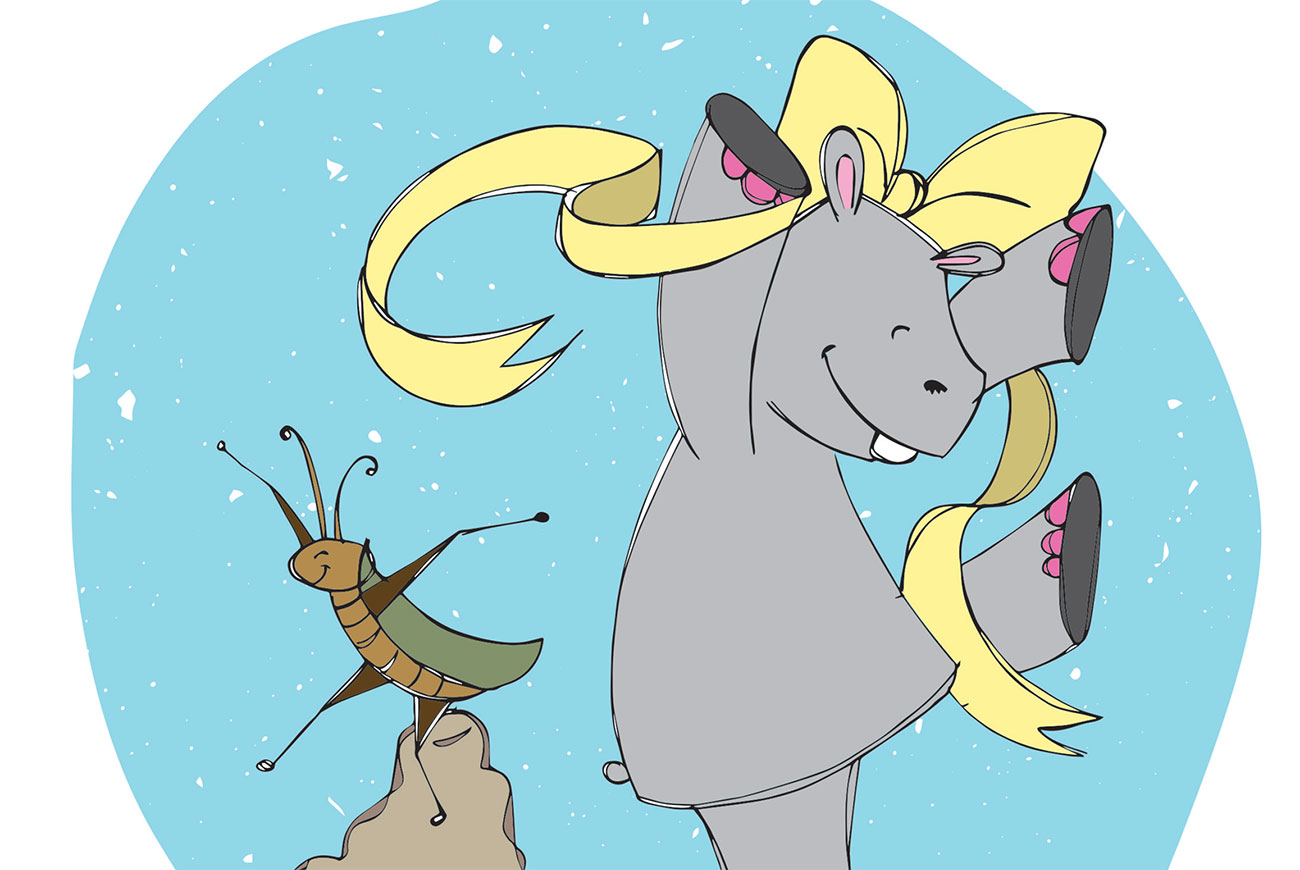 Bedtime stories for babies 'Hippo Wants to Dance' header illustration