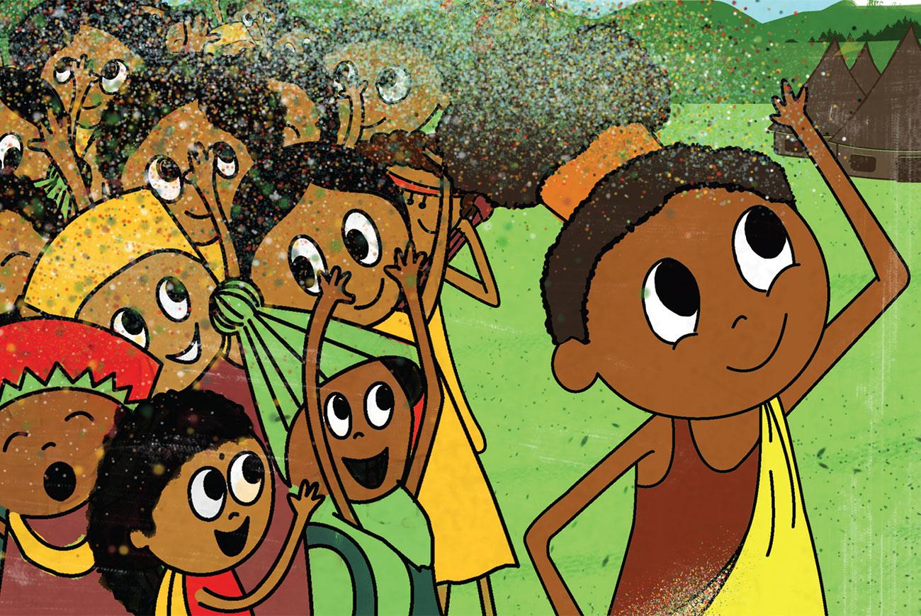 Kids story 'Searching for the Spirit of Spring' - header illustration