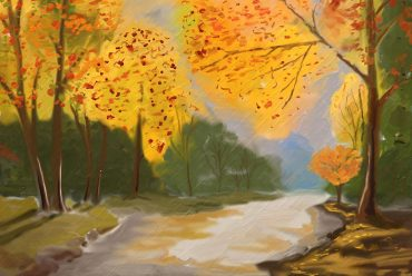 Illustration for children's poem When The Leaves Came Down by Susan Coolidge