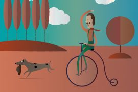 Illustration of man n penny farthing for funny kids poem Mulga Bills Bicycle
