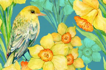 Illustration for kids poem 'I Wandered Lonely As A Cloud' (Daffodils) by William Wordsworth