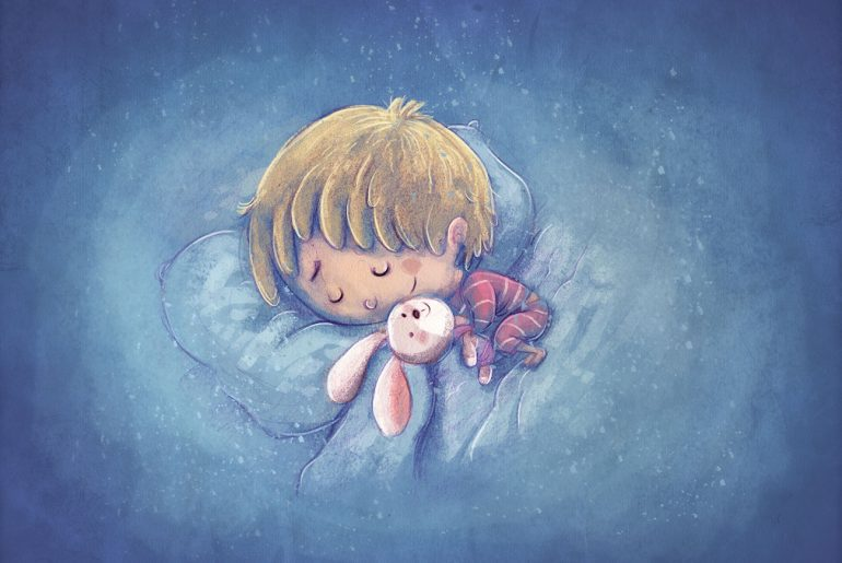 Illustration of sleeping boy for Tennyson kids poem Sweet and Low