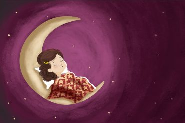 Illustration of sleeping girl for kids poem Wynken Blyknen and Nod by Eugene Field