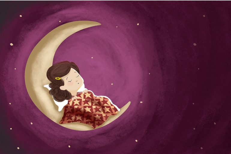 Illustration of sleeping girl for kids poem Wynken Blyknen and Nod by Eugene Field