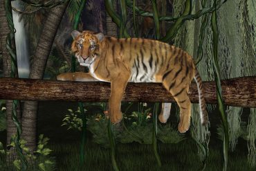 Illustration of tiger in jungle for Chinese children's story The Nodding Tiger
