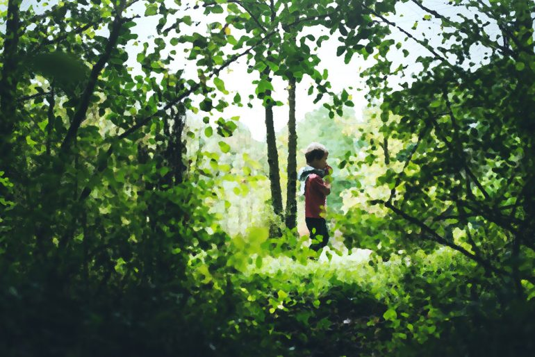 Short stories for kids - An Autumn Walk - illustration of boy in forest surrounded by leaves