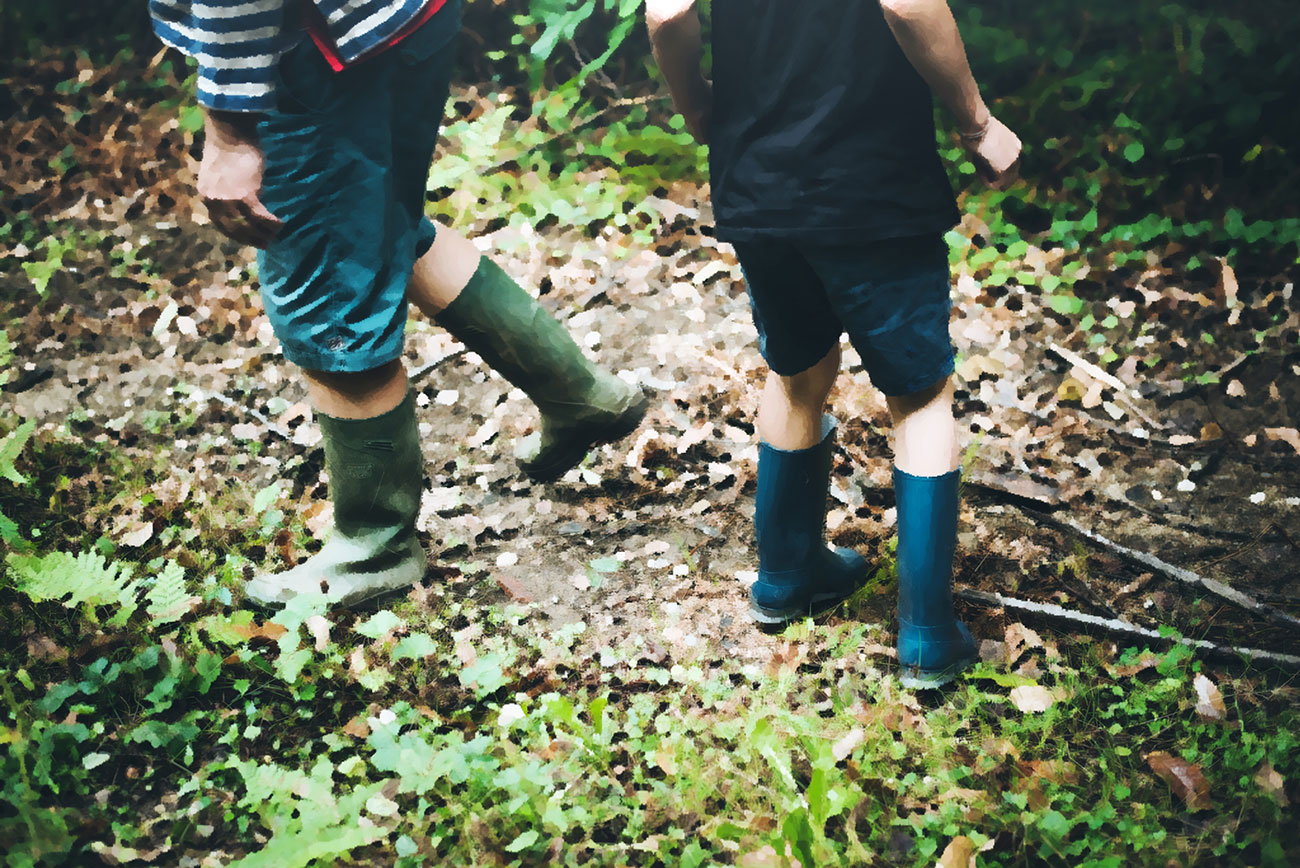 Short stories for kids - An Autumn Walk - illustration of boys in gumboots