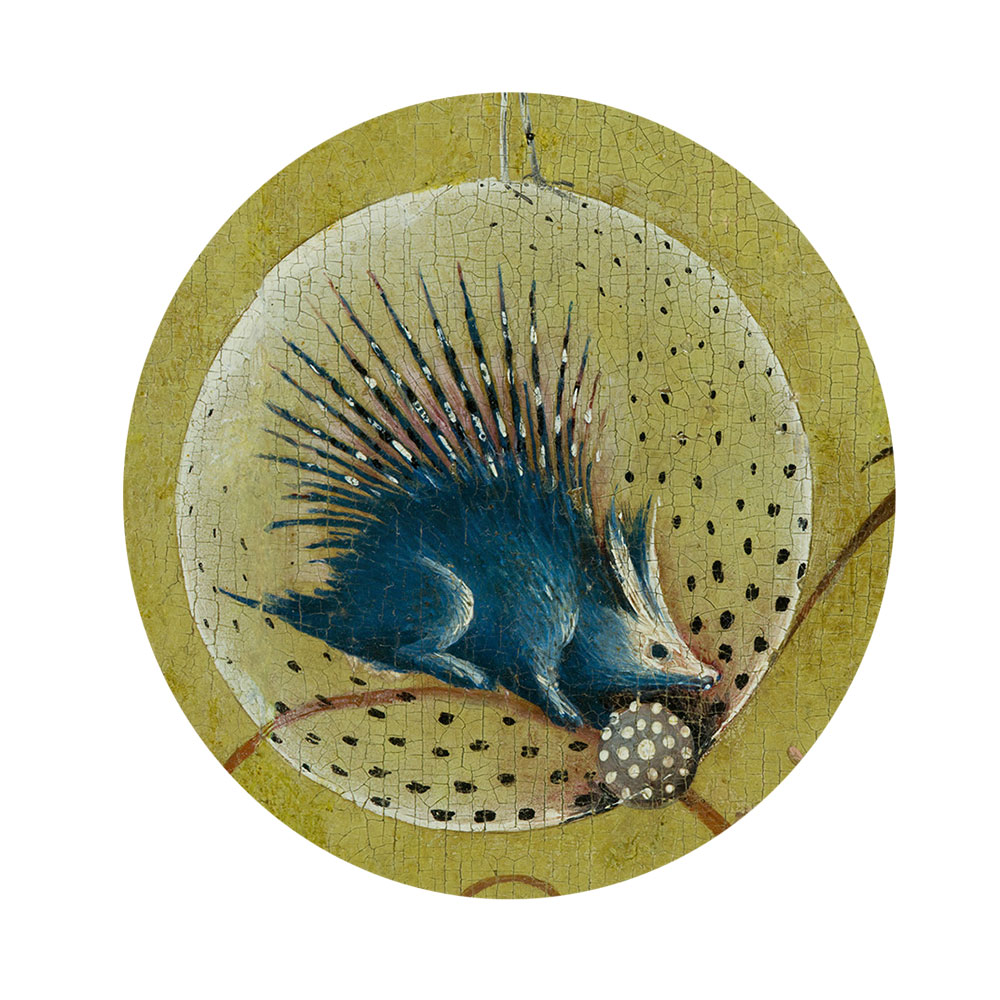 Children's search book - The Garden of Earthly Delights by Hieronymus Bosch - porcupine in a bubble