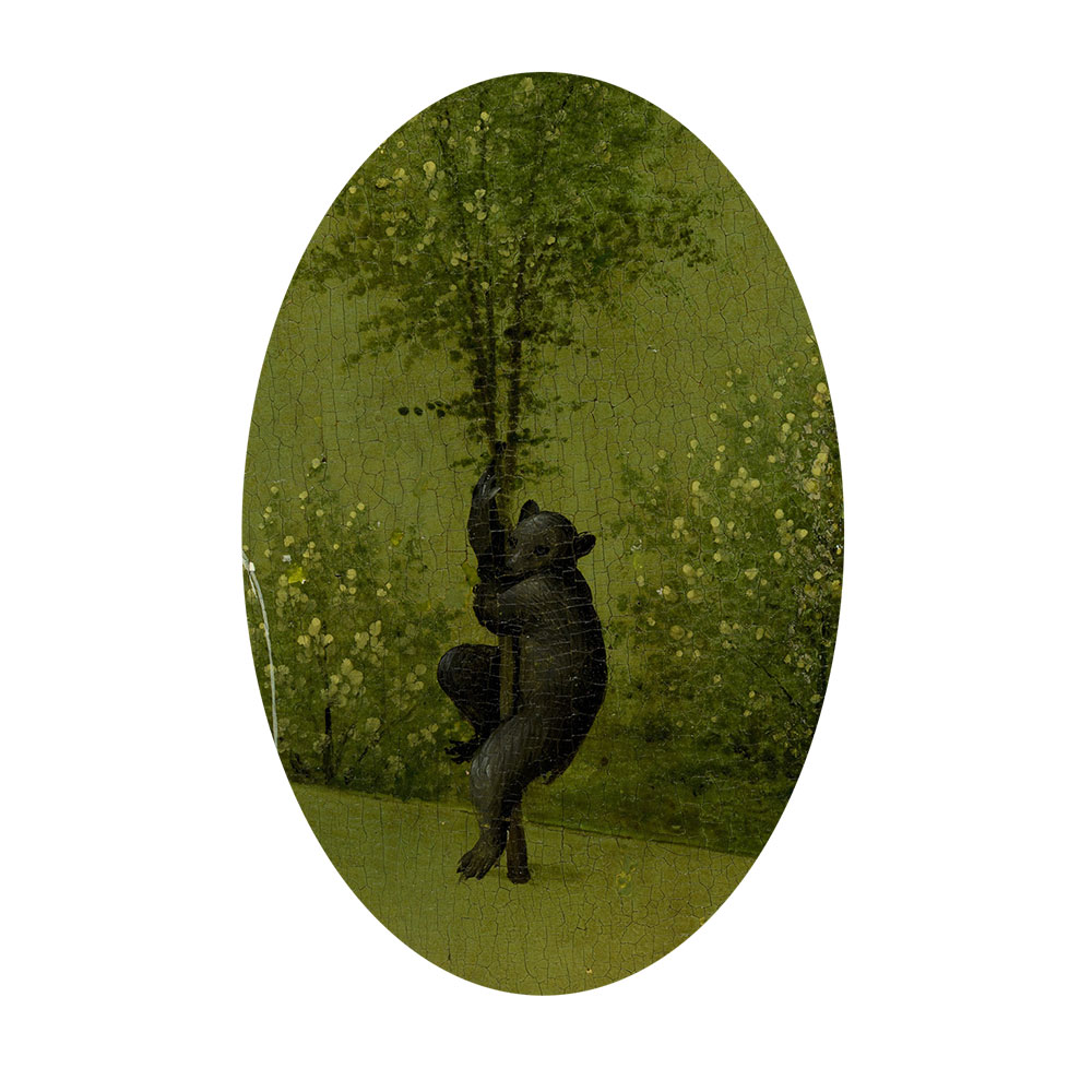 Children's search book - The Garden of Earthly Delights by Hieronymus Bosch - bear up a tree