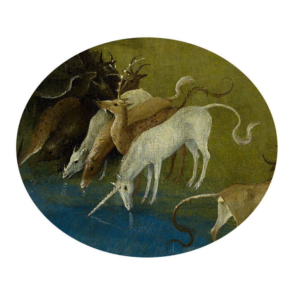 Children's search book - The Garden of Earthly Delights by Hieronymus Bosch - unicorn drinking