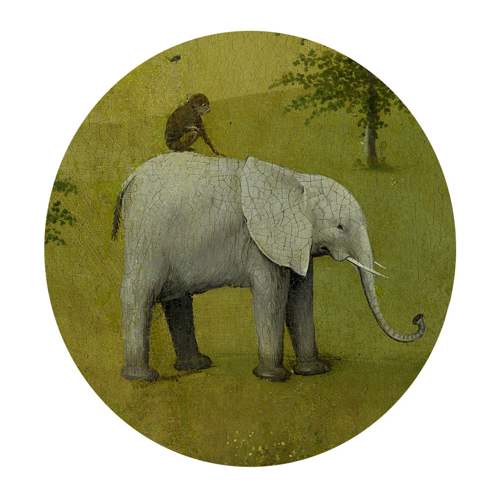 Children's search book - The Garden of Earthly Delights by Hieronymus Bosch - monkey riding an elephant