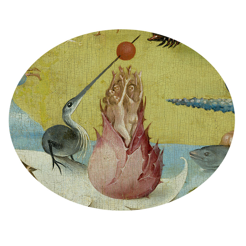 Children's search book - The Garden of Earthly Delights by Hieronymus Bosch - people playing volleyball from a flower