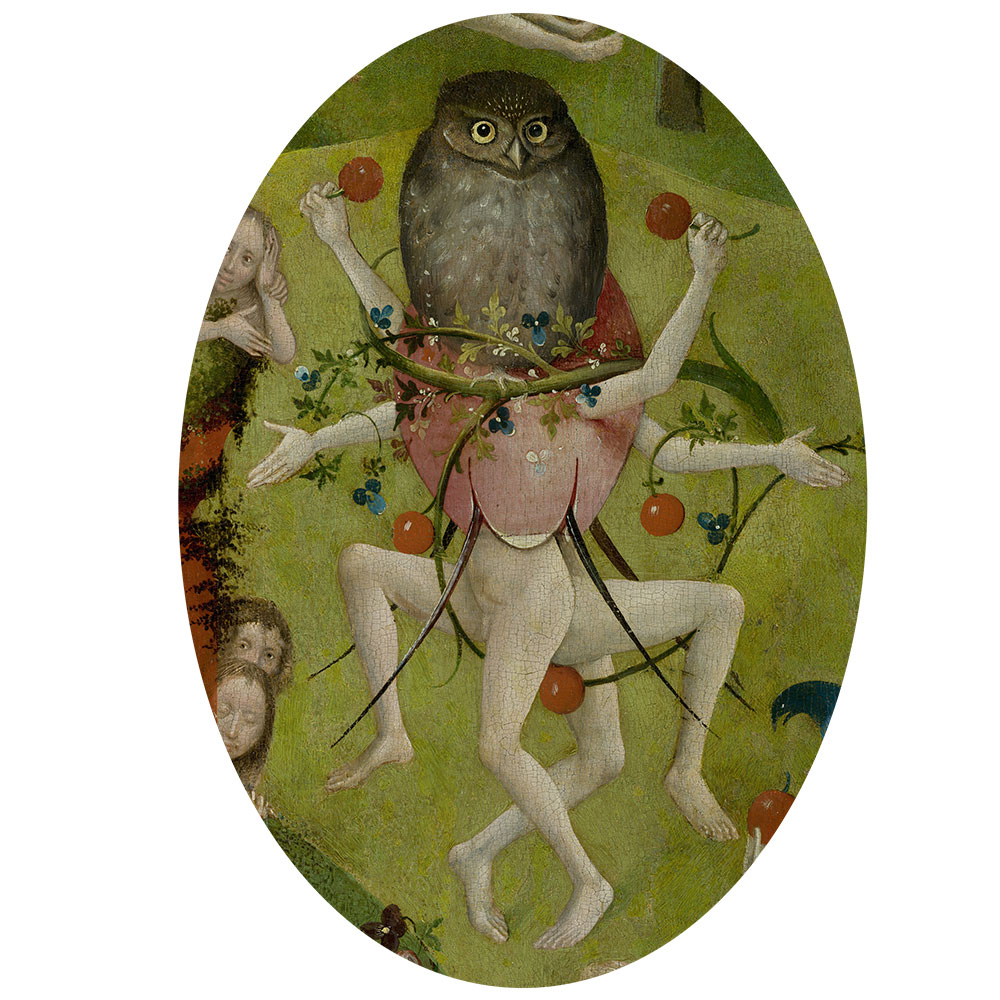 Children's search book - The Garden of Earthly Delights by Hieronymus Bosch - owl with legs and arms