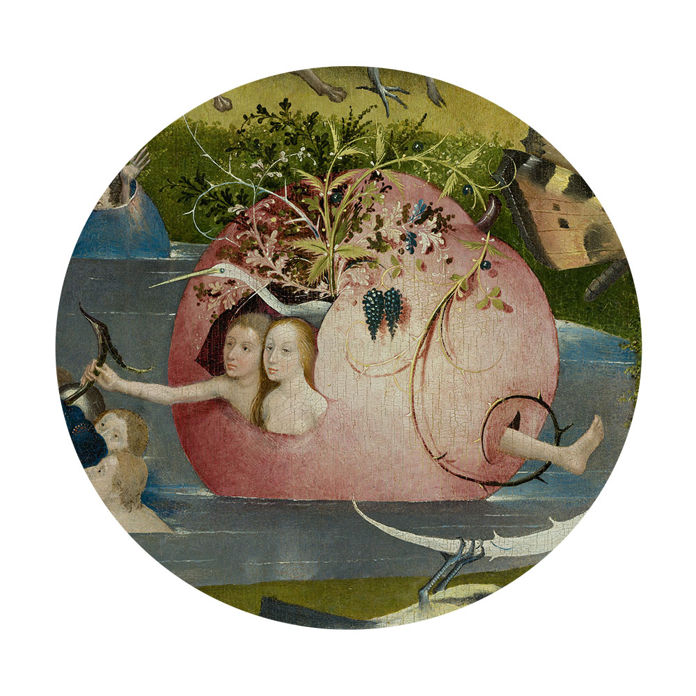 Children's search book - The Garden of Earthly Delights by Hieronymus Bosch - people in a pomegranate boat