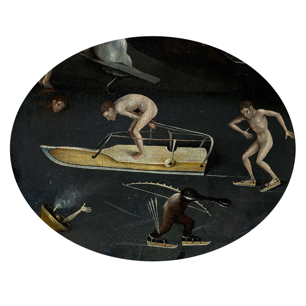 Children's search book - The Garden of Earthly Delights by Hieronymus Bosch - little people on big ice skates
